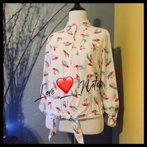 🦜Love ❤️ Note Vintage Parrot 🦜 Top Small 80's 🦜